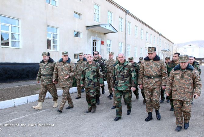 Presidents of Armenia and Nagorno Karabakh visit a number of military units located in NKR's north-eastern regions