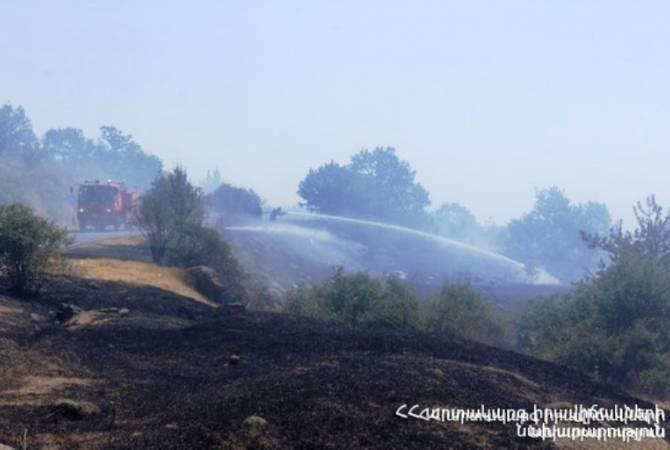 В Вайоцдзоре сгорело 110 га лугов — в тушении участвовали 49 пожарных-спасателей и 60 военнослужащих