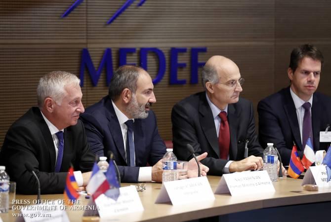 Премьер-министр Армении Никол Пашинян встретился в Париже с членами организации MEDEF