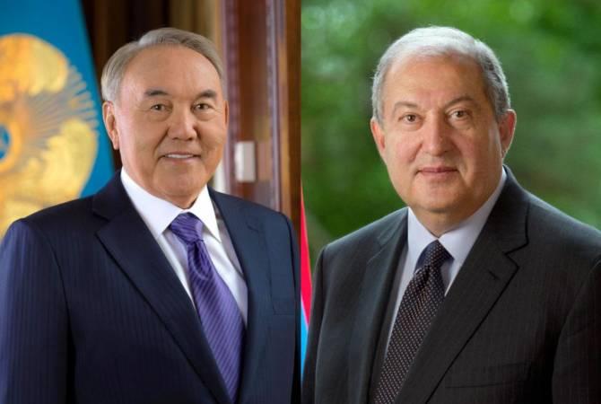 Президент Казахстана поздравил президента Армена Саркисяна по случаю Праздника Независимости