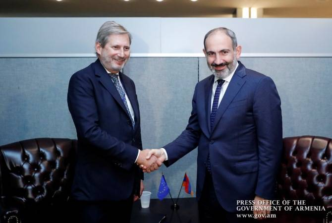 Armenian PM Nikol Pashinyan and European Commissioner for Budget and Administration Johannes Hahn meet at MSC