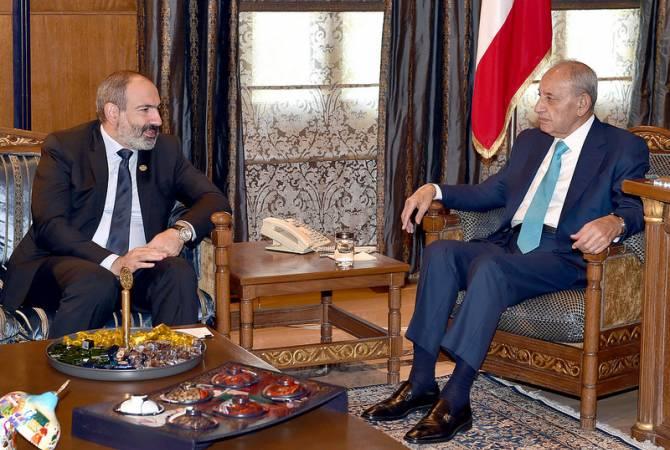 Состоялась встреча Никола Пашиняна со спикером парламента Ливана Набихом Берри