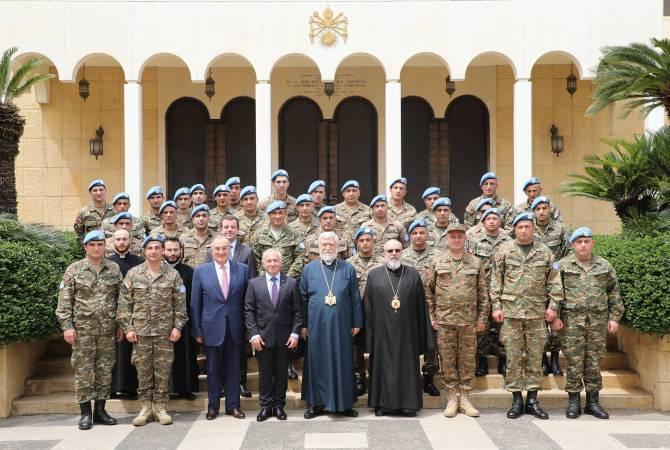 От имени Католикоса Арама I был дан обед в честь членов миротворческого контингента  РА в Ливане