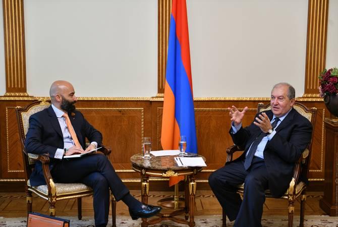 President Sarkissian, Director of 3Sixty Strategic Advisors discuss Armenia's tourism  development prospects