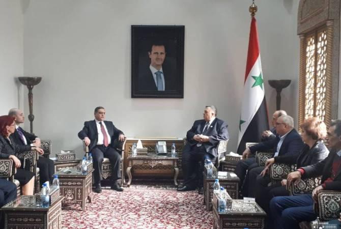 Посол передал спикеру парламента Сирии благодарности спикера НС Армении