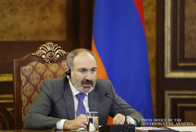 Armenian PM Nikol Pashinyan delivers speech at Eurasian Supreme Council video-conference