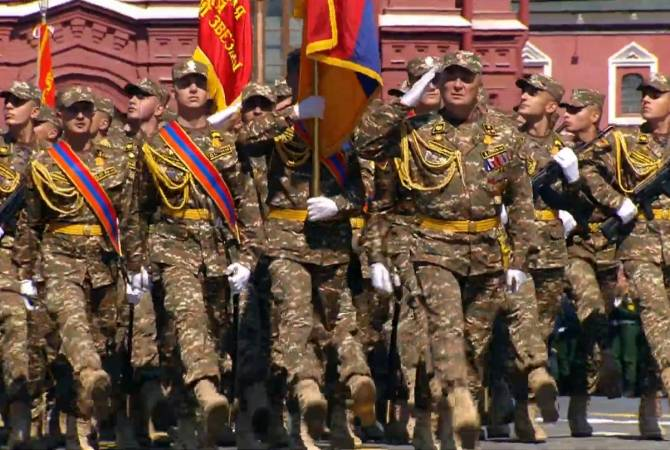 По Красной площади торжественным маршем прошел армянский контингент из 75 человек