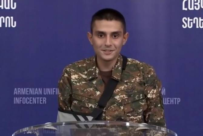 Press conference of Armenia defense ministry representative Artsrun Hovhannisyan and soldier Harutyun Dokholyan