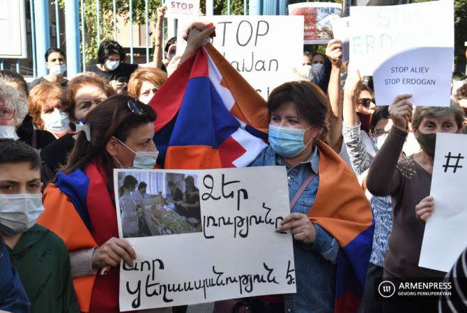 Artsakh women hold protest outside UN Office in Yerevan