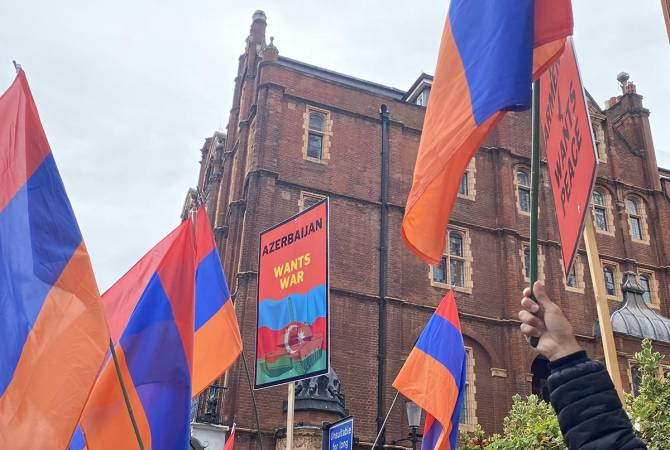 Armenian community protests in London in front of British Petroleum office