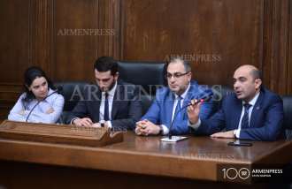 Armenian parliamentary delegation to PACE delivers press 