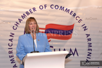 US Ambassador to Armenia Lynne Tracy delivers speech on her 