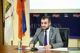 Press conference of deputy mayor of Yerevan Tigran Virabyan