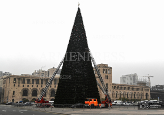 Armenia's main Christmas Tree almost ready