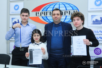Students representing Armenia at international contests return 