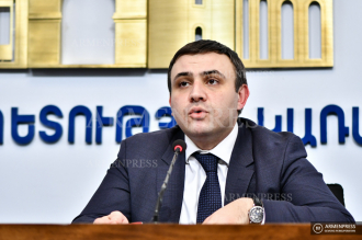 Press conference of Deputy Minister of Economy Varos 