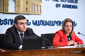 Press conference of deputy economy ministers Varos Simonyan 