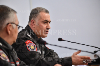 Press conference of Deputy Police Chief Hayk Mhryan