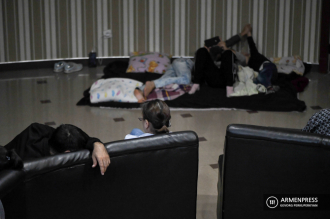 Civilians in Stepanakert sleep at bomb shelters amid Azeri 
