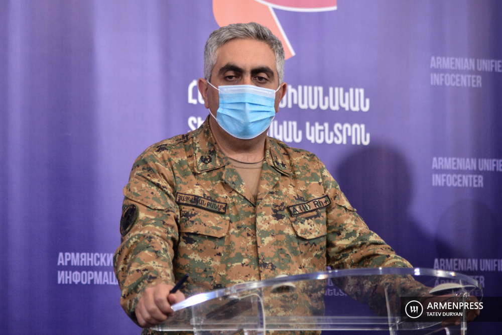 Press conference of Armenia defense ministry representative Artsrun Hovhannisyan
