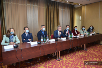 French junior FM Jean-Baptiste Lemoyne delivers press 