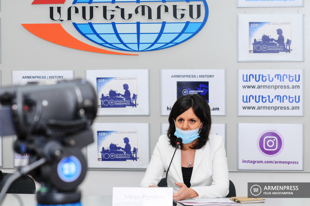 Press conference of Nvard Kocharyan, founding president of Europa Donna Armenia NGO
