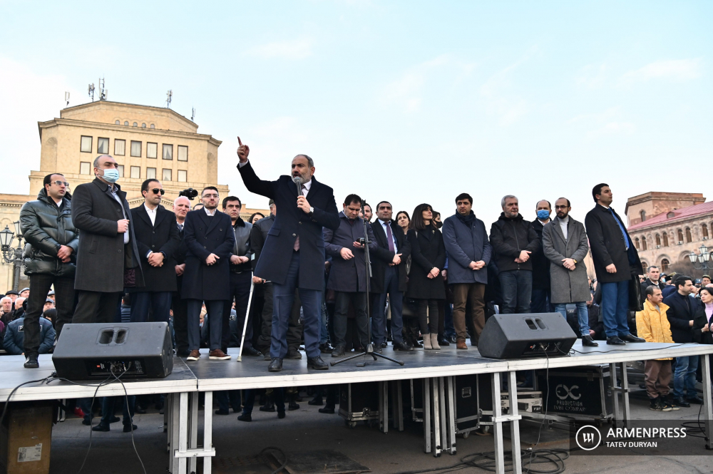 Pro-Pashinyan demonstration in Republic Square, Yerevan